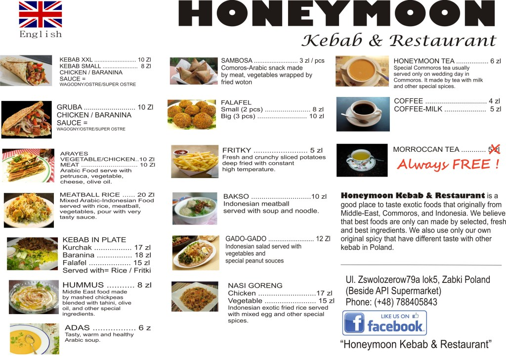 menu in honeymoon